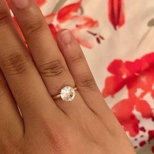 Jewelry - 2.0 CT Moissanite/White Sapphire 14K Gold Ring